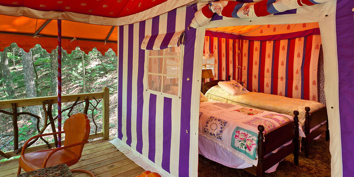 Glamping in Georgia just more more luxurious with these tents at The Martyn House in Ellijay, Ga., furnished with European antiques and luxurious bedding.