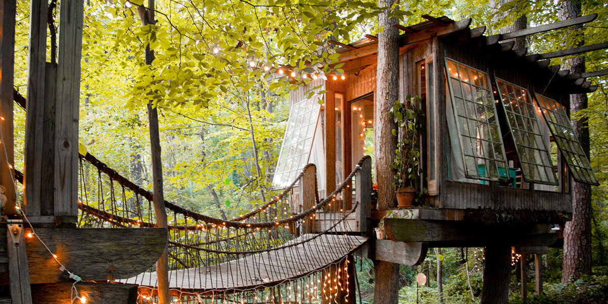 The Buckhead treehouse is a popular glamping destination in Georgia and on Airbnb.