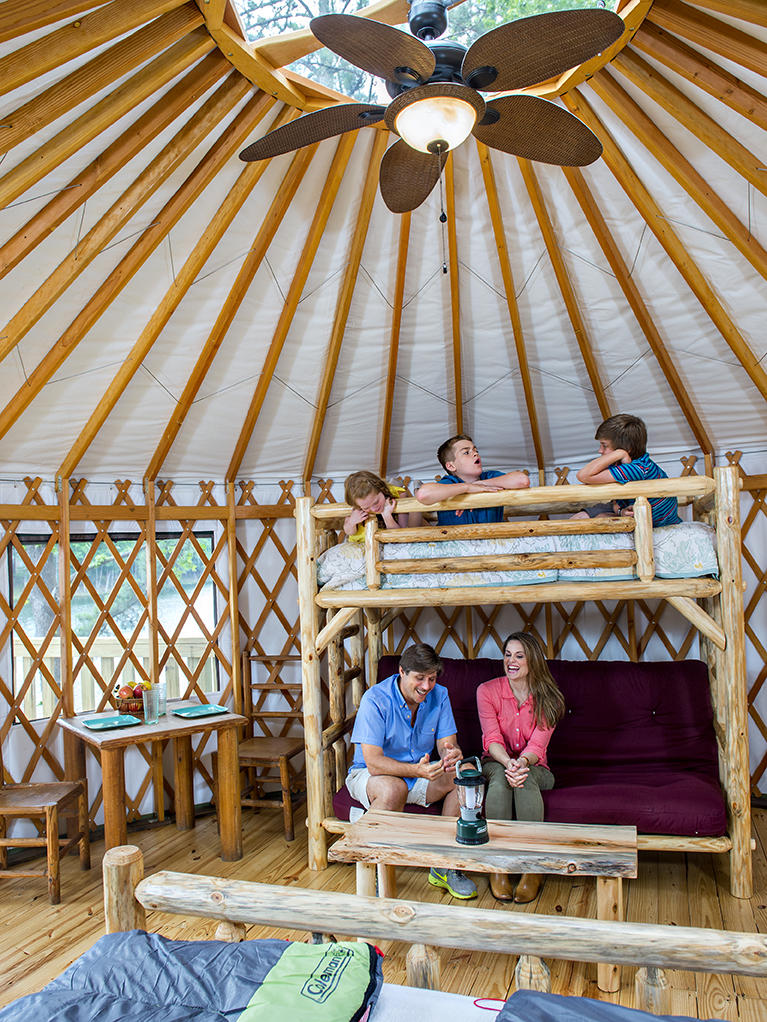 The interior of a yurt at Stone Mountain Park, one of many destinations for glamping in Georgia.
