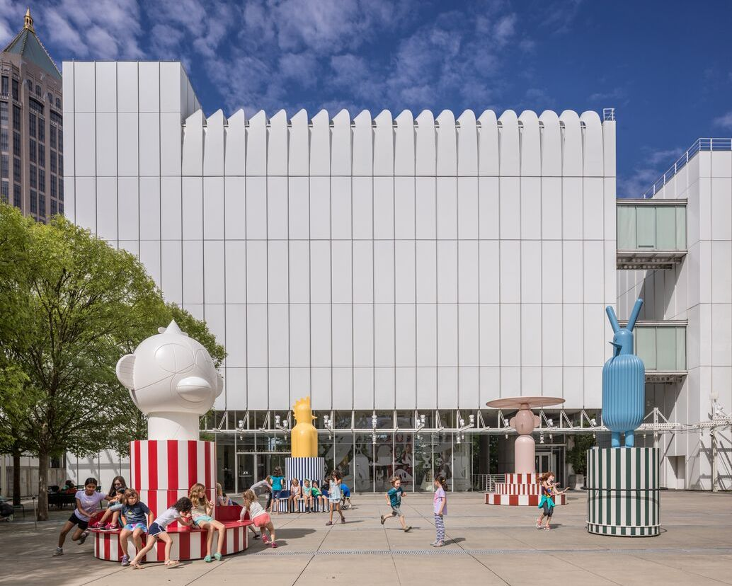 """Merry Go Zoo"" is on view outside the High Museum of Art."