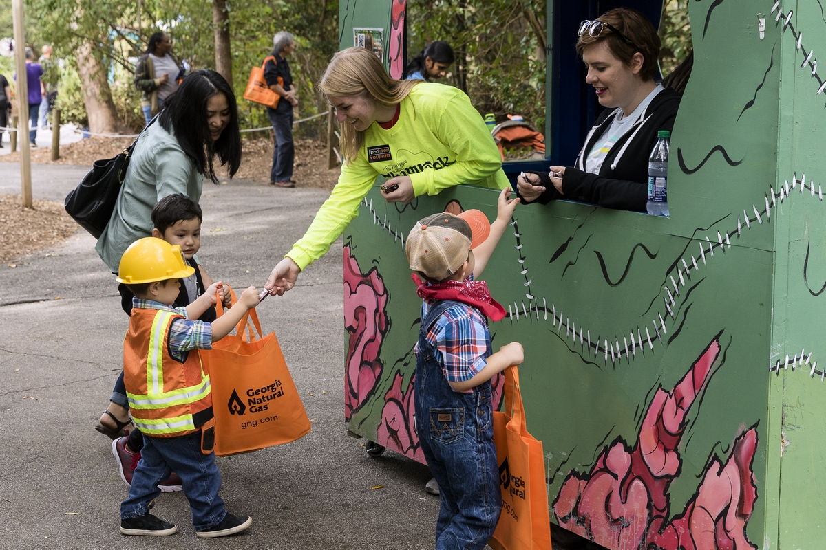 """Children collect candy at """"Boo at the Zoo,"""" which continues Oct. 28 and 29 at Zoo Atlanta. Photo courtesy of Zoo Atlanta."""