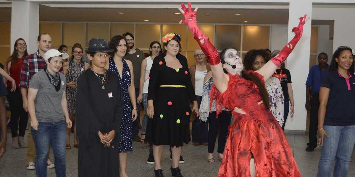"""Visitors dressed in costumes for """"Thriller"""" dance lessons at the High Museum. Photo courtesy of High Museum of Art."""