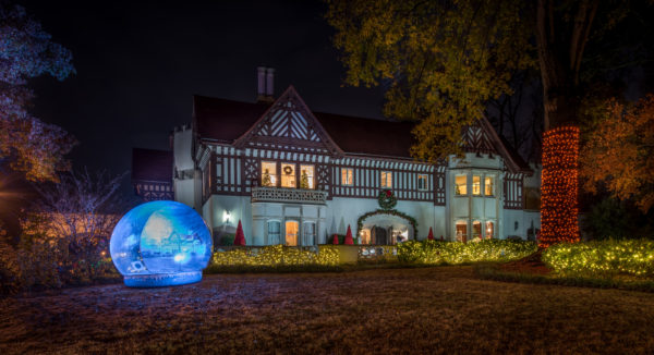 The Callanwolde mansion is covered in outdoor light displays this year. Photo courtesy of Callanwolde Fine Arts Center.