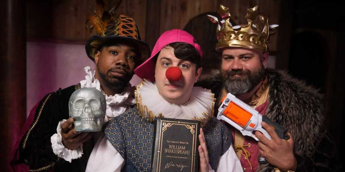 "Charlie Thomas, Adam King and Vinnie Mascola star in Shakespeare Tavern Playhouse's ""The Complete Works of William Shakespeare (abridged)"" running Aug. 4 through 19."