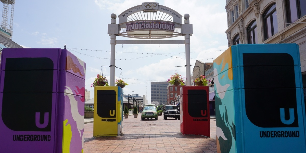 Underground Atlanta has a new art installment called The Pillars Project that features 16 murals on exhaust pipes.