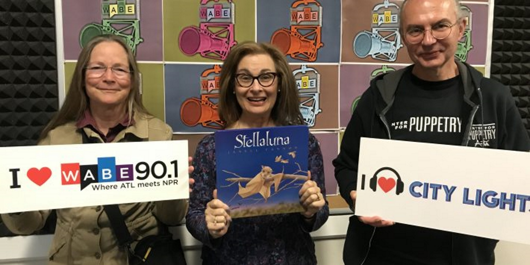 "Janell Cannon, left, author of ""Stellaluna,"" and Jon Ludwig, right, artistic director of the Center for Puppetry Arts, joined ""City Lights"" host Lois Reitzes to talk about the story, which is now on stage."